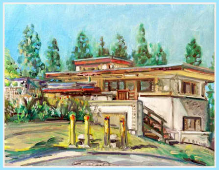 Residence Building  A,  Barnsdall Park, Los Angeles  2013 Painting/ From S.E.